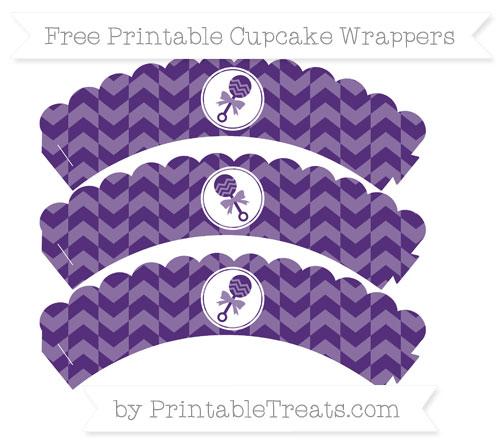 Free Royal Purple Herringbone Pattern Baby Rattle Scalloped Cupcake Wrappers