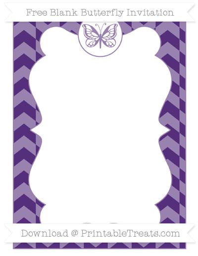 Free Royal Purple Herringbone Pattern Blank Butterfly Invitation
