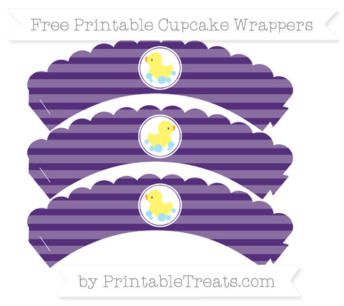 Free Royal Purple Horizontal Striped Baby Duck Scalloped Cupcake Wrappers
