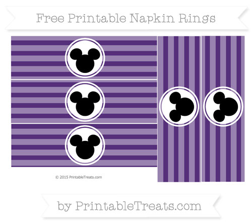 Free Royal Purple Horizontal Striped Mickey Mouse Napkin Rings