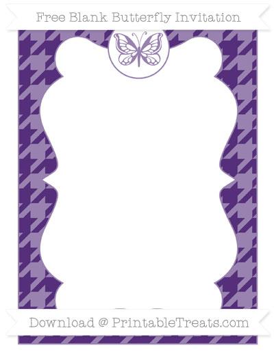 Free Royal Purple Houndstooth Pattern Blank Butterfly Invitation