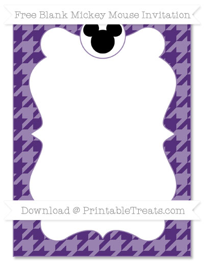 Free Royal Purple Houndstooth Pattern Blank Mickey Mouse Invitation