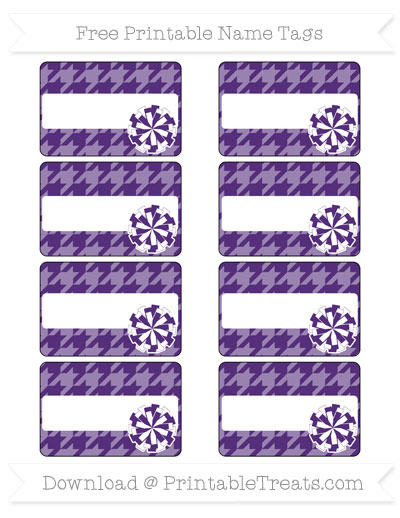 Free Royal Purple Houndstooth Pattern Cheer Pom Pom Tags