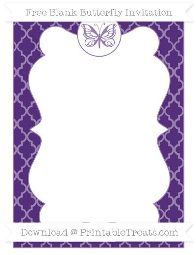 Free Royal Purple Moroccan Tile Blank Butterfly Invitation