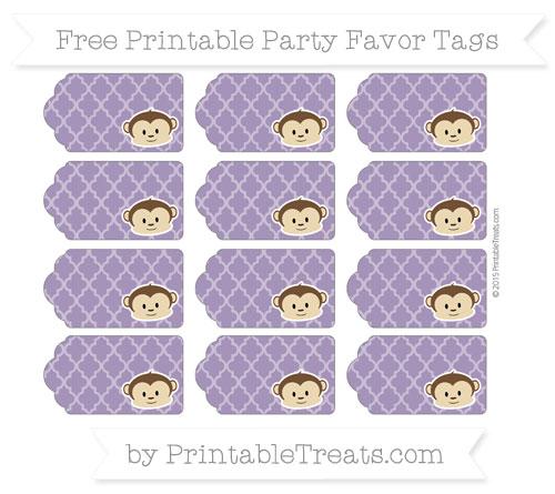 Free Royal Purple Moroccan Tile Boy Monkey Party Favor Tags