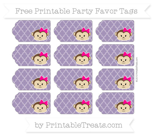 Free Royal Purple Moroccan Tile Girl Monkey Party Favor Tags