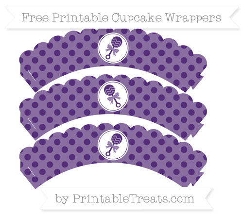 Free Royal Purple Polka Dot Baby Rattle Scalloped Cupcake Wrappers