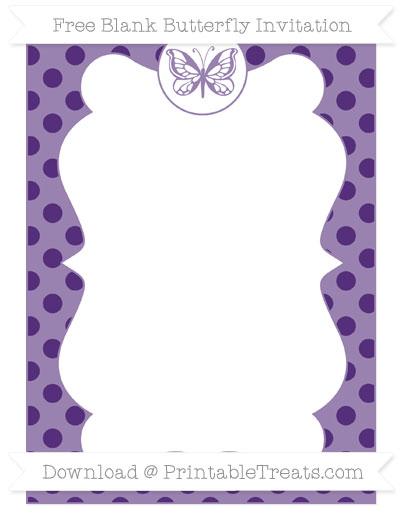 Free Royal Purple Polka Dot Blank Butterfly Invitation