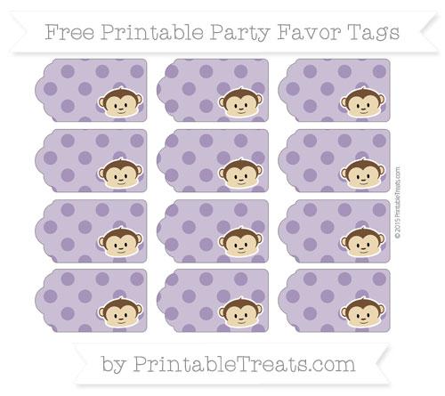 Free Royal Purple Polka Dot Boy Monkey Party Favor Tags