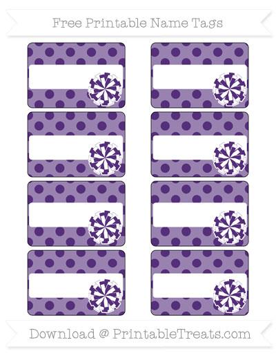 Free Royal Purple Polka Dot Cheer Pom Pom Tags