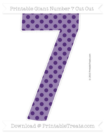 Free Royal Purple Polka Dot Giant Number 7 Cut Out