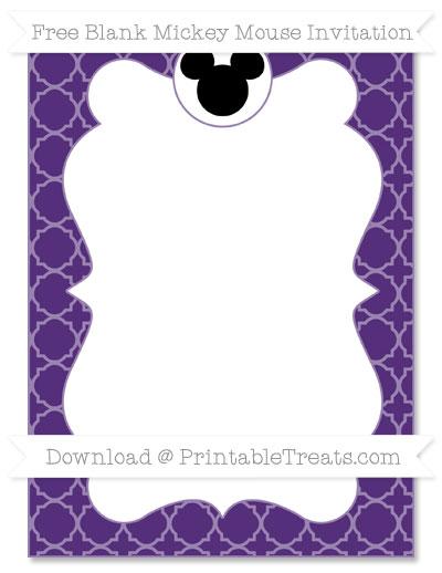 Free Royal Purple Quatrefoil Pattern Blank Mickey Mouse Invitation