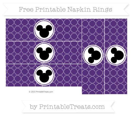 Free Royal Purple Quatrefoil Pattern Mickey Mouse Napkin Rings