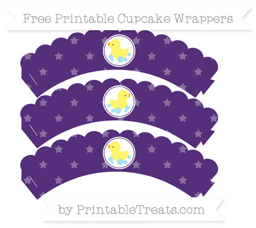 Free Royal Purple Star Pattern Baby Duck Scalloped Cupcake Wrappers