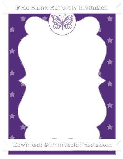 Free Royal Purple Star Pattern Blank Butterfly Invitation