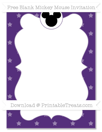 Free Royal Purple Star Pattern Blank Mickey Mouse Invitation