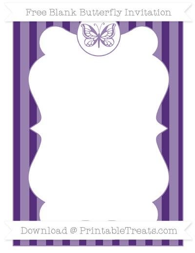 Free Royal Purple Striped Blank Butterfly Invitation
