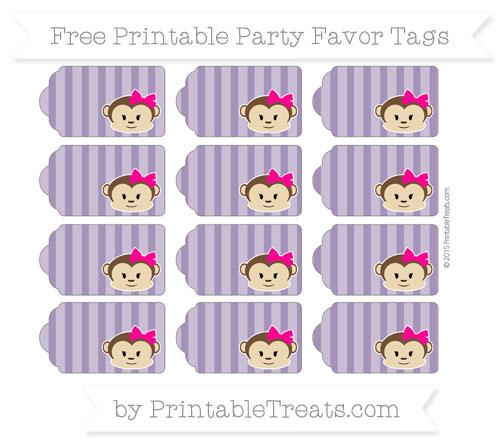 Free Royal Purple Striped Girl Monkey Party Favor Tags