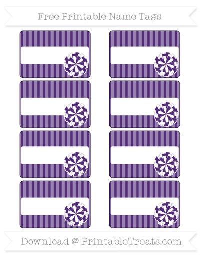 Free Royal Purple Thin Striped Pattern Cheer Pom Pom Tags