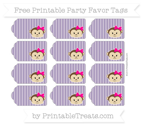 Free Royal Purple Thin Striped Pattern Girl Monkey Party Favor Tags