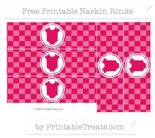 Free Ruby Pink Checker Pattern Baby Onesie Napkin Rings