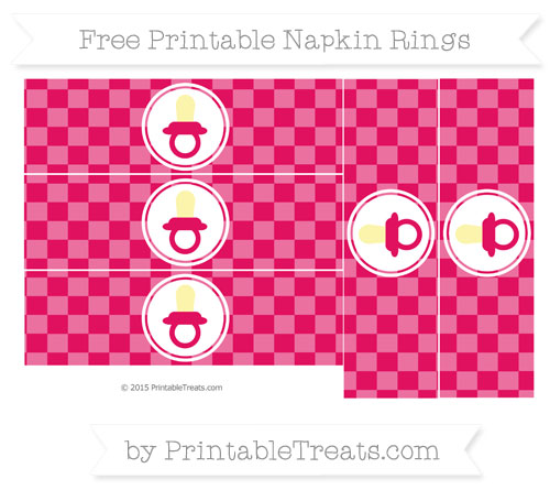 Free Ruby Pink Checker Pattern Baby Pacifier Napkin Rings