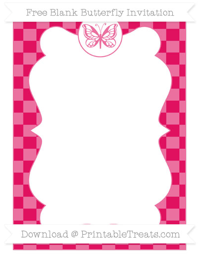 Free Ruby Pink Checker Pattern Blank Butterfly Invitation