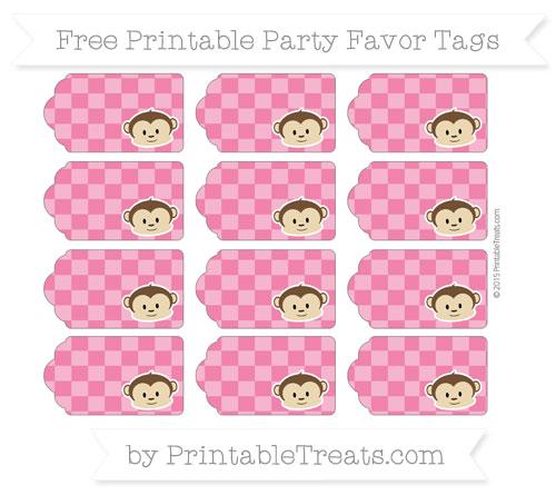 Free Ruby Pink Checker Pattern Boy Monkey Party Favor Tags