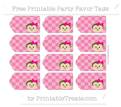 Free Ruby Pink Checker Pattern Girl Monkey Party Favor Tags