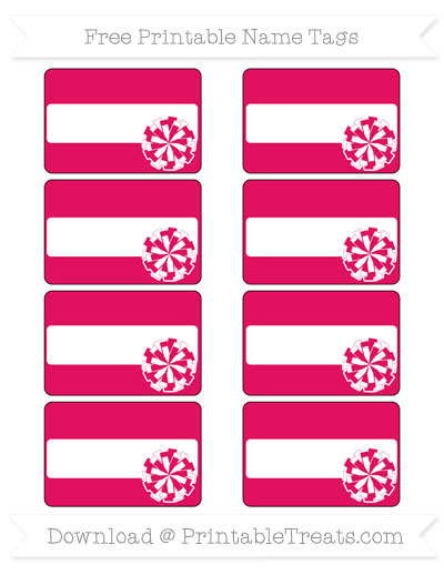 Free Ruby Pink Cheer Pom Pom Tags