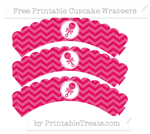 Free Ruby Pink Chevron Baby Rattle Scalloped Cupcake Wrappers