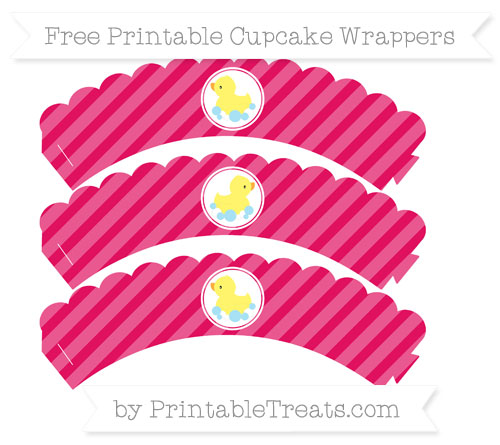 Free Ruby Pink Diagonal Striped Baby Duck Scalloped Cupcake Wrappers