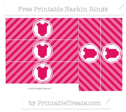 Free Ruby Pink Diagonal Striped Baby Onesie Napkin Rings