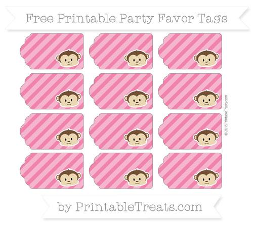 Free Ruby Pink Diagonal Striped Boy Monkey Party Favor Tags