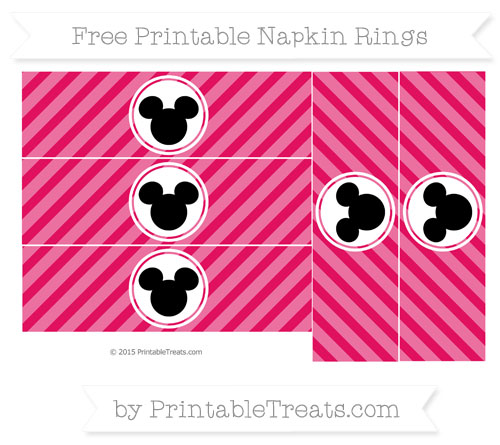 Free Ruby Pink Diagonal Striped Mickey Mouse Napkin Rings
