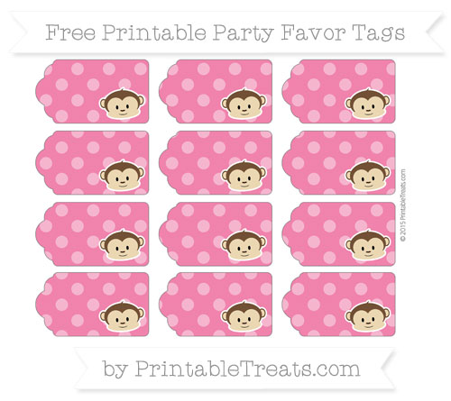 Free Ruby Pink Dotted Pattern Boy Monkey Party Favor Tags
