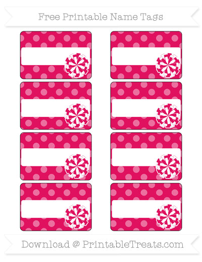 Free Ruby Pink Dotted Pattern Cheer Pom Pom Tags