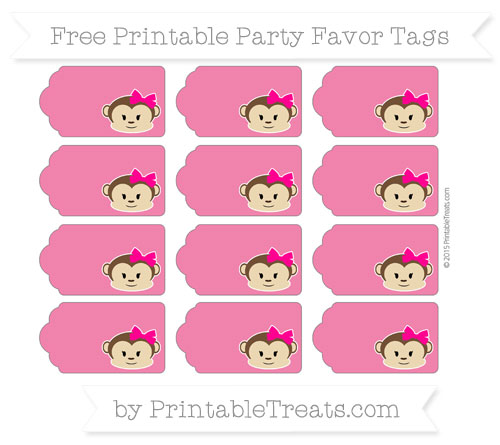 Free Ruby Pink Girl Monkey Party Favor Tags