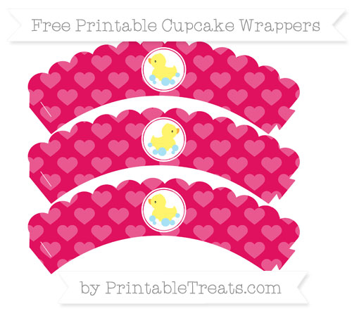 Free Ruby Pink Heart Pattern Baby Duck Scalloped Cupcake Wrappers