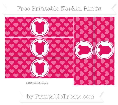 Free Ruby Pink Heart Pattern Baby Onesie Napkin Rings