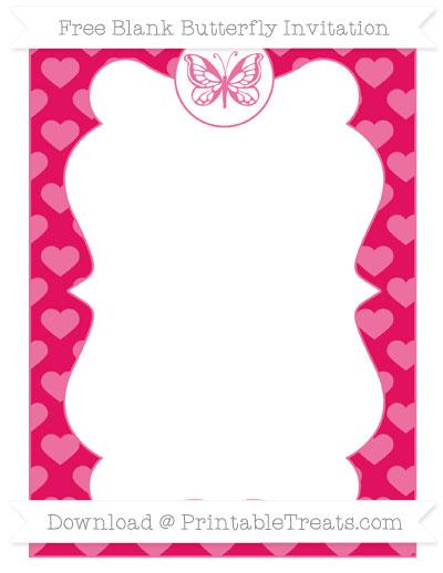 Free Ruby Pink Heart Pattern Blank Butterfly Invitation