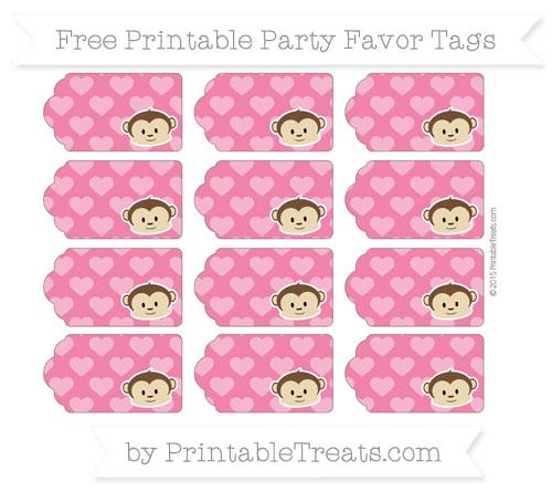 Free Ruby Pink Heart Pattern Boy Monkey Party Favor Tags