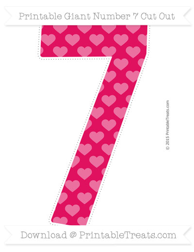 Free Ruby Pink Heart Pattern Giant Number 7 Cut Out