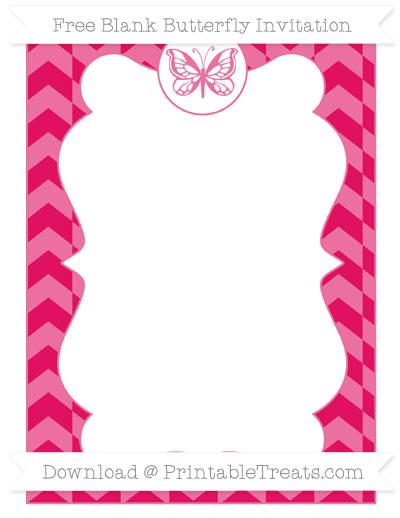 Free Ruby Pink Herringbone Pattern Blank Butterfly Invitation