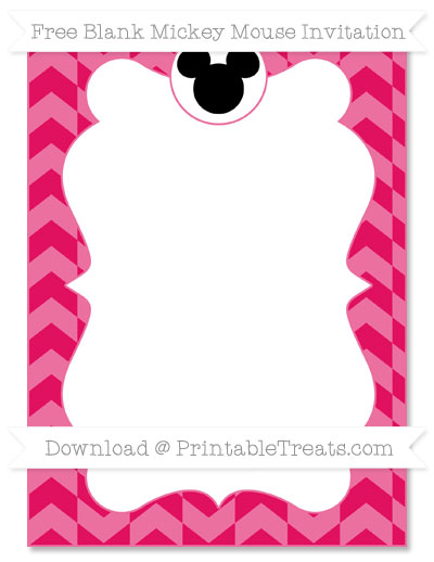 Free Ruby Pink Herringbone Pattern Blank Mickey Mouse Invitation