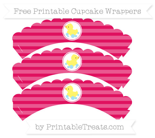 Free Ruby Pink Horizontal Striped Baby Duck Scalloped Cupcake Wrappers
