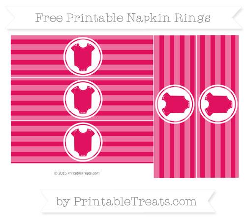 Free Ruby Pink Horizontal Striped Baby Onesie Napkin Rings