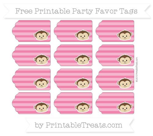 Free Ruby Pink Horizontal Striped Boy Monkey Party Favor Tags