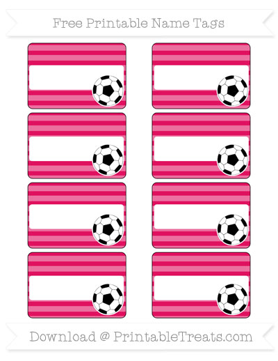 Free Ruby Pink Horizontal Striped Soccer Name Tags