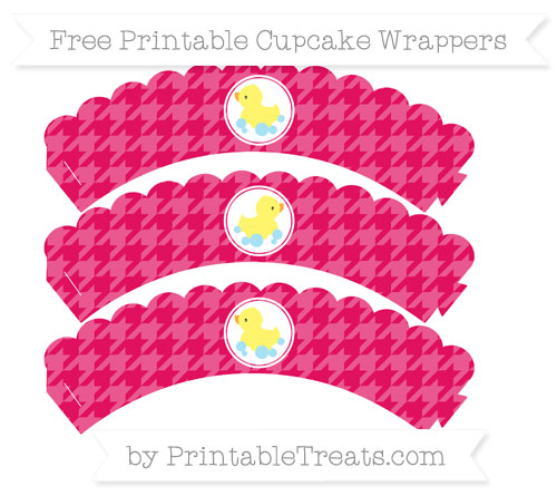 Free Ruby Pink Houndstooth Pattern Baby Duck Scalloped Cupcake Wrappers